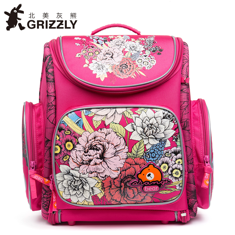 GRIZZLY New Kids Cartoon Primary Schoolbags for Children School Bags Waterproof Orthopedic Backpacks for Girls Grade 1-4 primary children cartoon mickey school bags 2016 kids cartoon backpack waterproof schoolbags satchel for boys and girls
