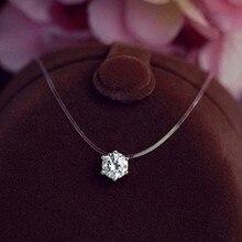 Новинка, невидимая рыболовная леска, прозрачный AAA+ циркон, ожерелье с подвеской для женщин, ожерелье для рыбалки, колье, ювелирное изделие
