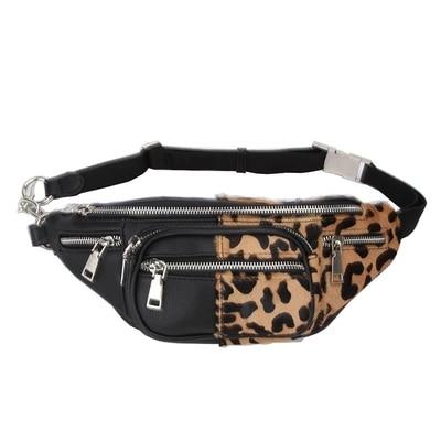 Quality Leopard Stitching Velvet Sheepskin Chain Waist Bag Bananka Travel Leisure Fanny Pack Women Walking Belly Band Belt Bag