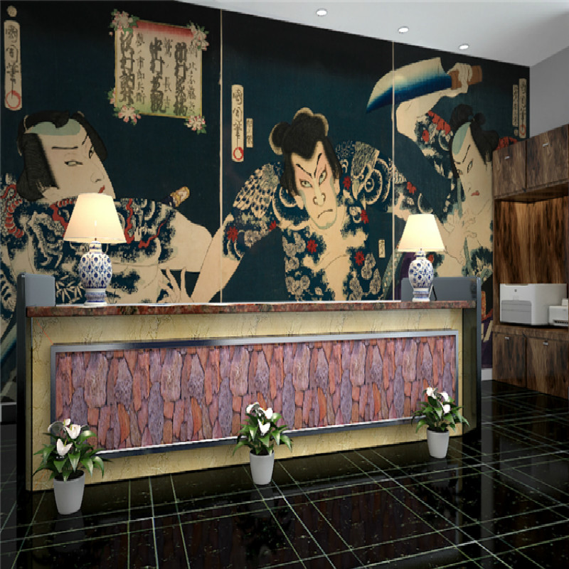 Japan's large mural custom 3D wallpaper Japanese restaurant ukiyo-e warrior tattoo shop tattoo FIG fighting for living room free shipping watercolor art living room lobby mural fashion salon shop clothing store restaurant lounge bar wallpaper