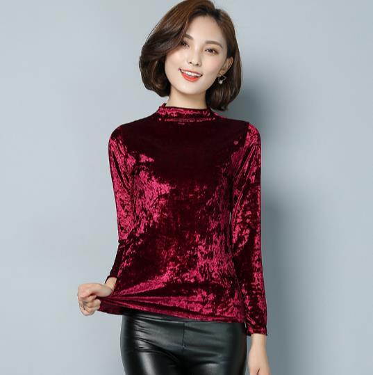 c1ed0a70a79 2018 Winter Spring Women Velvet Tops Warm Velour Blouse womans Long Sleeve  basic shirt M 3XL Plus Size elegant blusas Z851-in Pullovers from Women s  ...