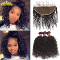 8a Peruvian Virgin Human Hair Kinky Curly With Lace Frontal Closure Afro Kinky Curly Weave Bundles With 13x4 Ear To Ear Closure