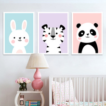 Cartoon Rabbit Panda Baby Poster Nordic Wall Art Canvas Painting Print  Animal Pictures For Kids Room Kinderkamer