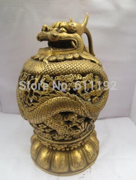 7.5 Inch high Home decor brass Incense burner Metal crafts Hand carved dragon sculpture censer|craft china|craft circle|craft life - title=