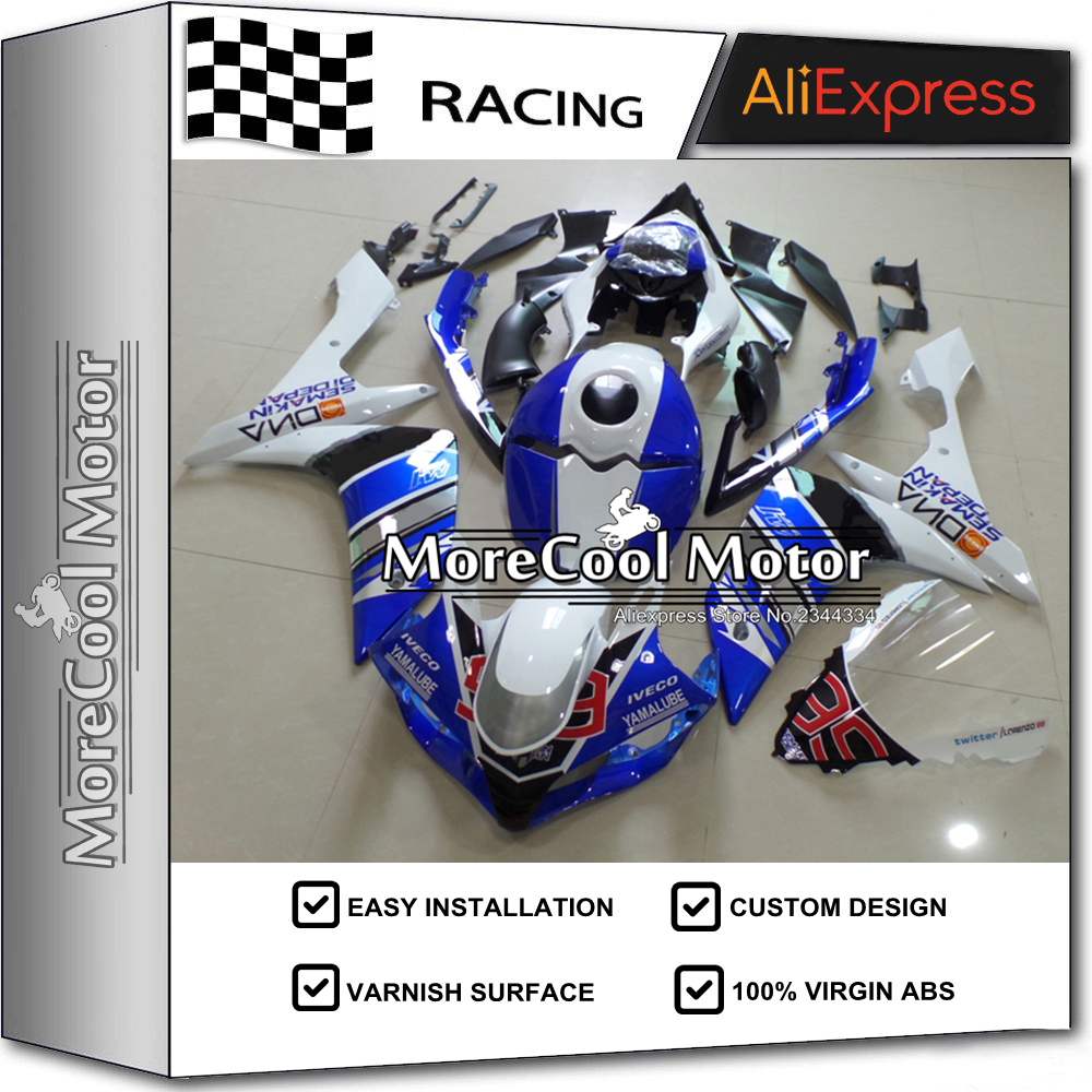 Thick Varnish Surface Finish Blue & White Complete Injection Fairing Kit For Yamaha YZF R1 2007 2008 ABS Plastic Mold Blue Cowl  цены