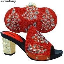 17fd4d29e43bf جديد وصول البرتقال اللون المبيعات في النساء مطابقة الأحذية و حقيبة مجموعة  الأفريقية مطابقة الأحذية والحقائب الإيطالية في النساء .
