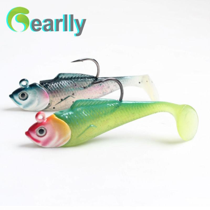 리드 헤드와 후크가있는 8cm / 3 인치 인공 물고기 미끼 미끼 플로피 테일 바다 낚시 유혹을 지닌 팝 아이 물고기 지그 헤드