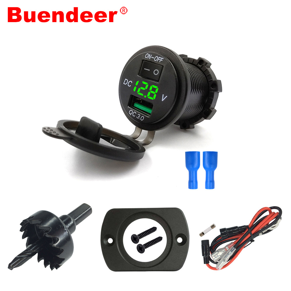 Buendeer Outlet Usb-Charger Marine Socket-Adapter Motorcycle On/off-Switch QC3.0 12V