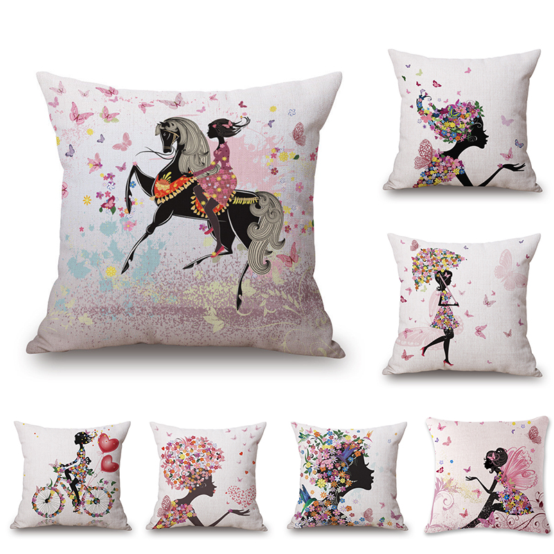 Flower Butterfly Girl Cushion Cover Cotton Linen Throw Pillow Cases Home Decorative Pillowcases ...