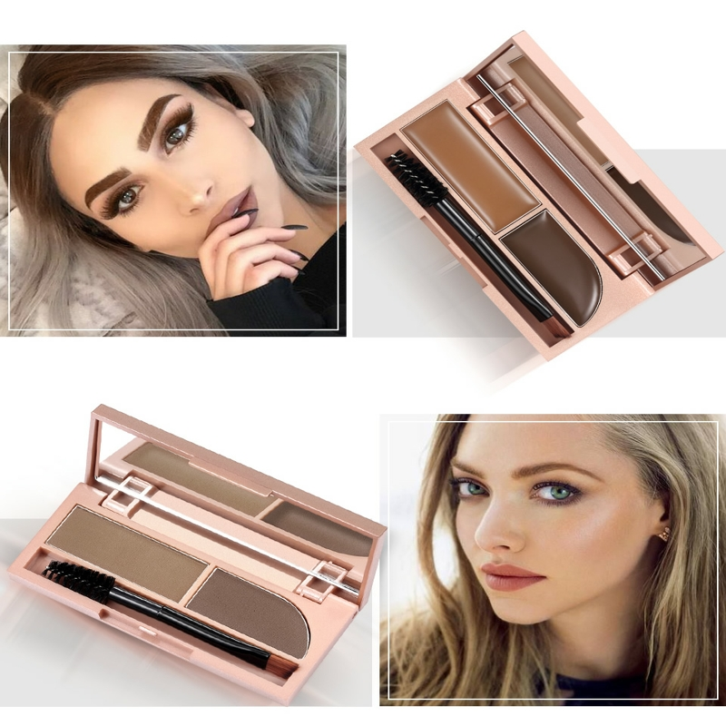 O TWO O 2 in 1 Eyebrow Enhancer Brown Black Powder Waterproof Makeup Gel Lasting Eye Brow Cream Cosmetic With Brush Mirror N9082 in Eyebrow Enhancers from Beauty Health
