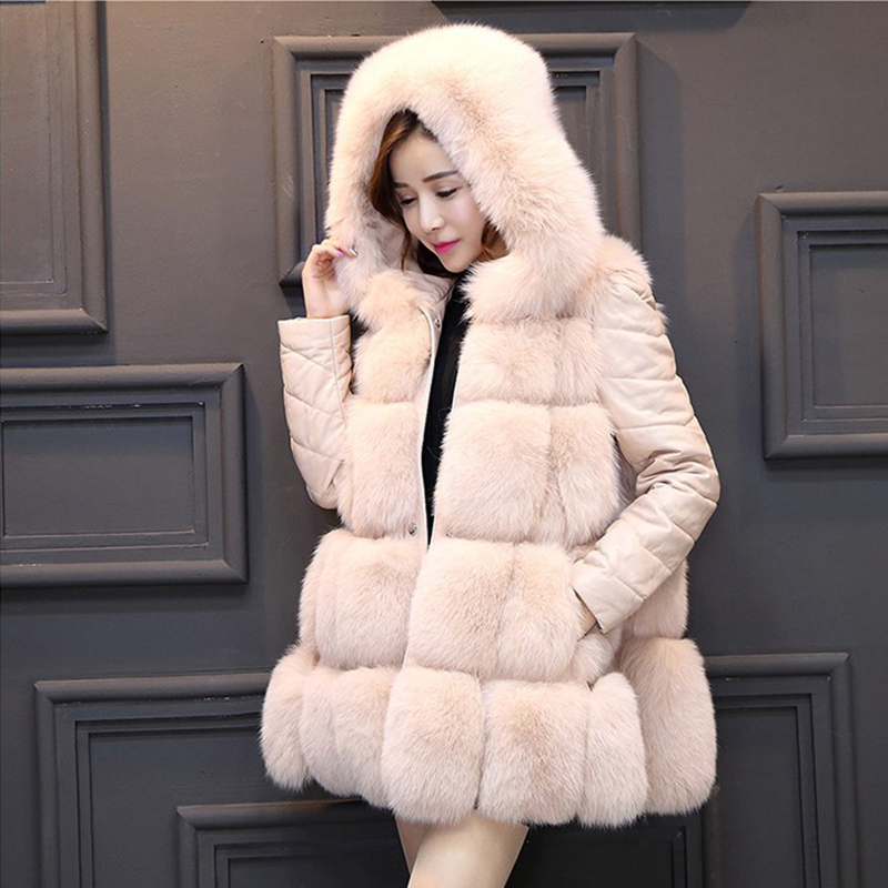 2019 zima nové ženy umělý kožich s kapucí patchwork Fox kožešina tlustá teplá srst srst umělá kožešinová vesta vyjímatelné rukávy PC213