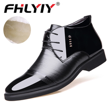 Ankle Boots for Men Business Mens Boots High Top keep warm Shoes Outdoor Leather Mens Winter Shoes Male Black цены онлайн