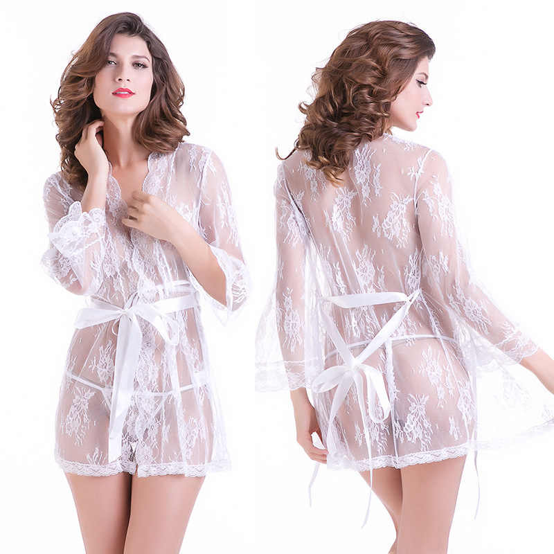 160a7e5b2e ... Sheer robe Femme Sexy Transparent Robes with lace Bathrobes kimono  Nightwear bridesmaid bath robe plus size ...