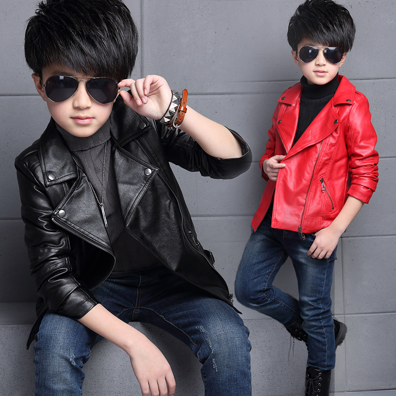 c3d11193f8b0 2016 New Boys Faux Leather Jackets European and American Style ...