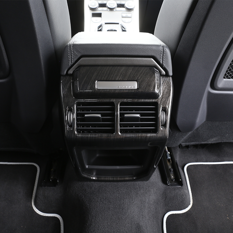 For Land Rover Range Rover Evoque Dark wood grain Car Interior Accessories Rear Air Conditioning Vent Cover Frame Trim Stickers newest for land rover discovery 4 lr4 accessories abs dark wood grain center console ac vent cover trim stickers for lhd