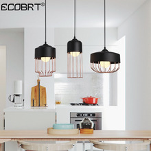 ECOBRT Black Metal Pendant Lamp LED Pendant Lighting Russia Bar Cafe Hanging Lamp Nordic Art Decor Lighting For Dining Kitchen lukloy nordic metal led pendant light dining room bar aisle gold led pendant lamp simple corridor cafe hanging lighting luxury
