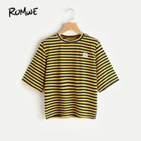 ROMWE Bee Stripe Emoji Patch T Shirt Yellow T Shirts Women 2017 Summer Tops Women Short