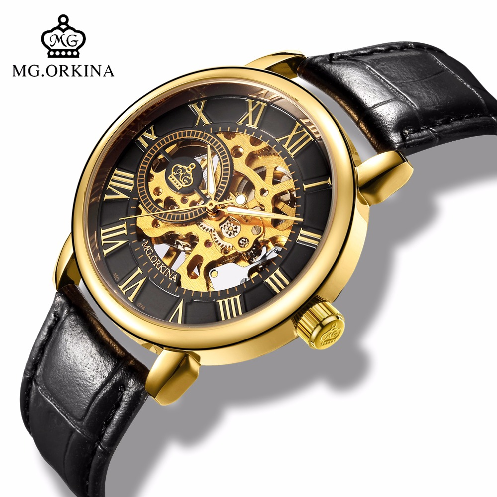 MG.ORKINA Mens Fashion Skeleton Gold Mechanical Watch Men Casual Hand Wind Black Leather Luminou Male Wrist Watches montre homme цена и фото