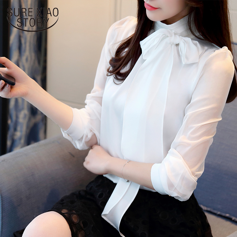 2019 New Summer Fashion Tunic Women   Blouse     Shirts   Long Sleeve Tie Bow Chiffon Turtleneck Formal Women White Black   Shirts   0599 30