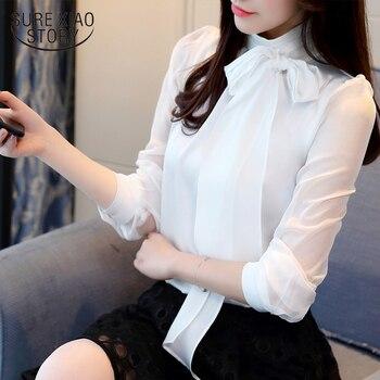 timeless design c9aad f067e 2019 neue Sommer Mode Tunika Frauen Bluse Shirts Langarm Krawatte Bogen  Chiffon Rollkragen Formale Frauen Weiß Schwarz Shirts 0599 30