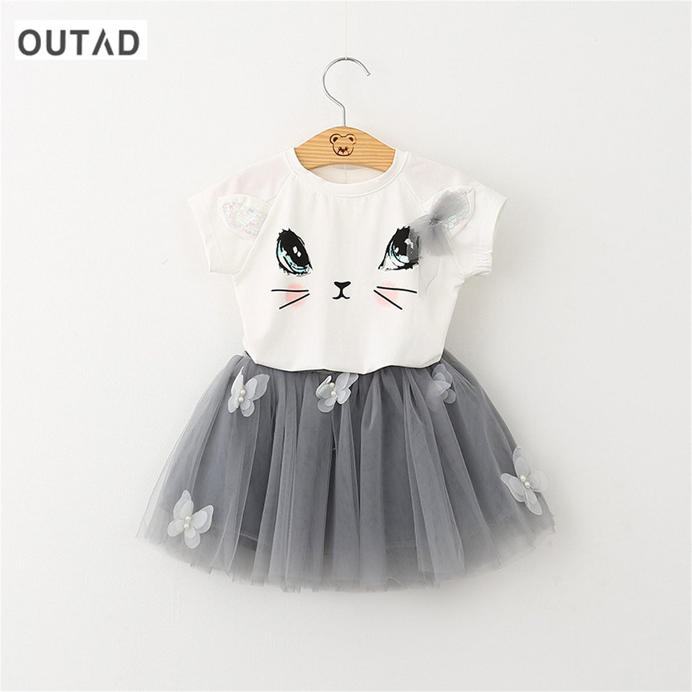 Фото OUTAD 2pcs/set Cute Cat girls skirts princess lovely fluffy tutu skirt kids pettiskirt candy color short girls dancing skirt