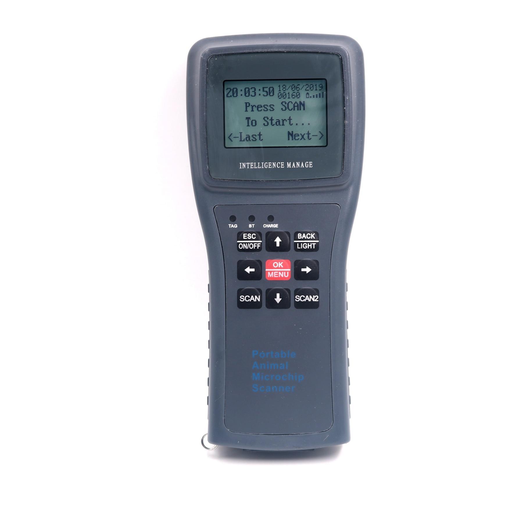 Lecteur tenu dans la main ISO11785/84 FDX-B d'étiquette d'oreille d'animal de Scanner de puce d'animal portatif de mémoire de longue Distance de 134.2 KHz