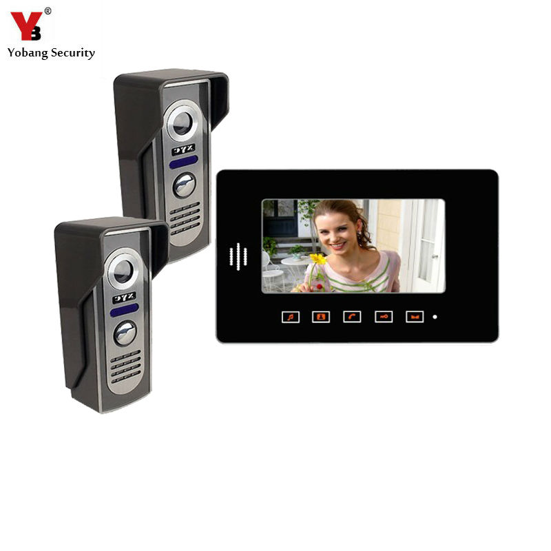Yobang Security freeship  7 TFT LCD Color Video Door Bell Video Intercom Phone 2 outdoor camera+1 indoor monitor Intercom door freeship 10 door intercom security system hands free monitor color tft lcd screen intercom system video door phone for villa