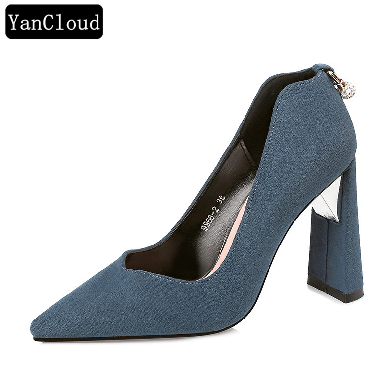81a401d2c117 Classic Pointed Toe Block Heel Pumps Women Shoes 2019 Spring Shallow Mouth  Flock High Heel Shoes