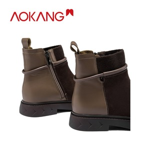 Image 4 - AOKANG bottes de moto pour femme, chaussures Martin chics, Style britannique, pour femmes, chaussures à la cheville, automne et hiver décontracté