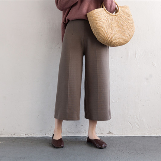 gris Ancha Casuales Alta Invierno Ropa Primavera La Pierna Amplia Mujeres Las Pantalones Cintura Beige 2019 De Mujer aFqBwB