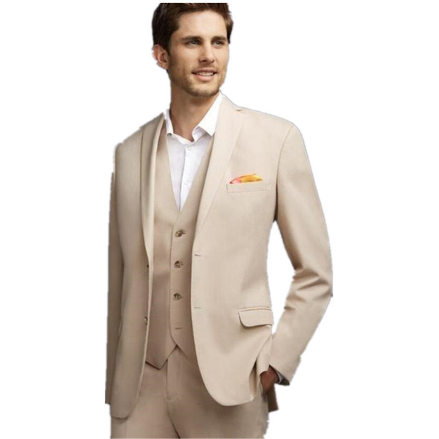 The Latest Fashion Of Cream Colored Man Wedding Suit Jacket Pants