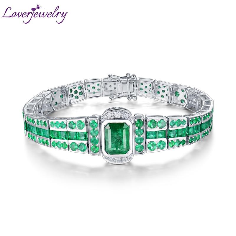 Loverbijoux unisexe Bracelet solide 18 K or blanc émeraude pierres précieuses femmes hommes Bracelet véritable diamant classique Bracelet bijoux