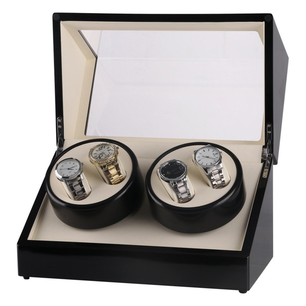 4 Slots Wood Watch box Watch Winder Box case Lacquer Rotate Slient Motor Clock Casket Display Clock Winder Watch Case TOP все цены