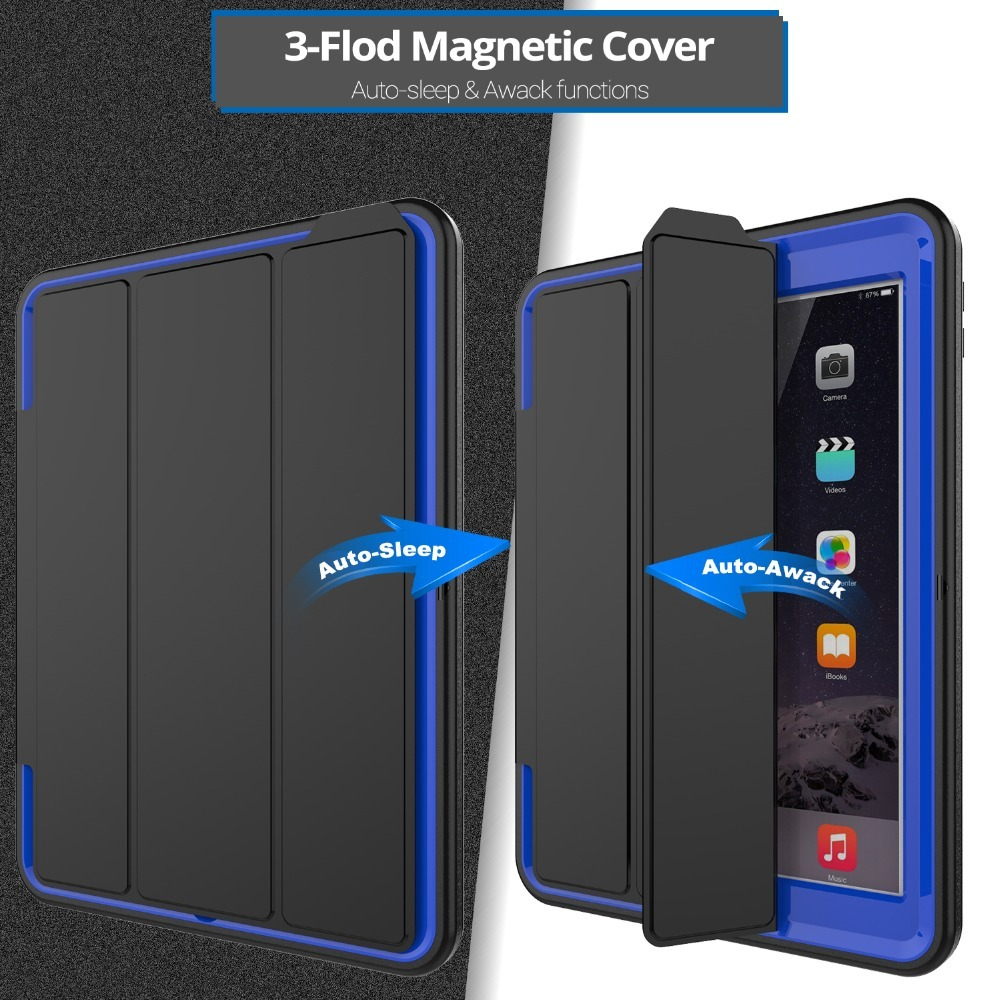 Luxury Smart Wake up function Case For iPad 2 3 4 Safe Armor Shockproof Heavy Duty Silicone Hard Cover For iPad2/3/4