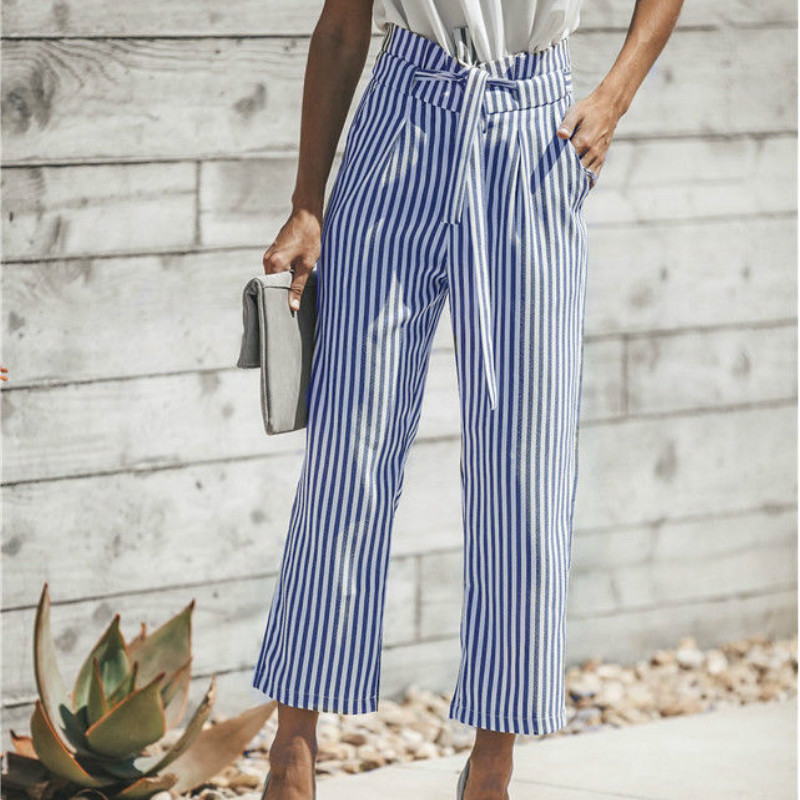 2018 New Summer Striped Pants Women Stretch High Waist Trousers Casual Pants 4 Colors