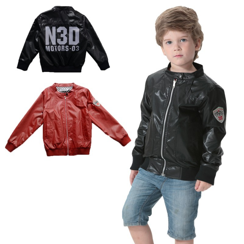 9a0ae2cc738c TOK TIC BRAND Leather Jacket Kids Boy Faux Leather Coat Kid letter ...