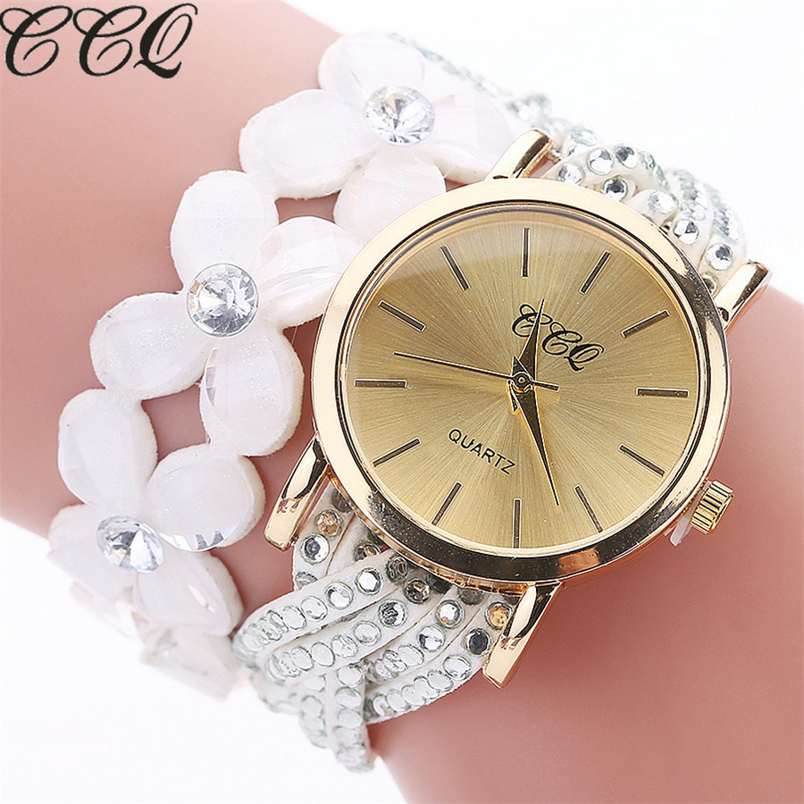 CCQ Brand Fashion Crystal Flower Watches Casual Women Leather Bracelet Wrist Watch Quartz Watches Relogio Feminino Clock C105 2016 new brand fashion retro style men dress quartz leather rivets bracelet watches women crystal casual relogio feminino watch