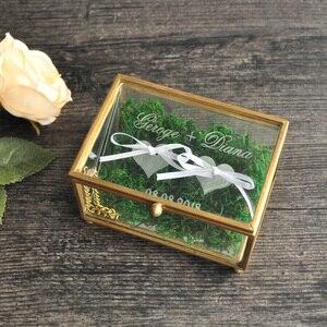 Image 2 - Rustic Wedding Ring Bearer Box Geometric Ring Holder Box, Personalized Wedding Ring Box Glass