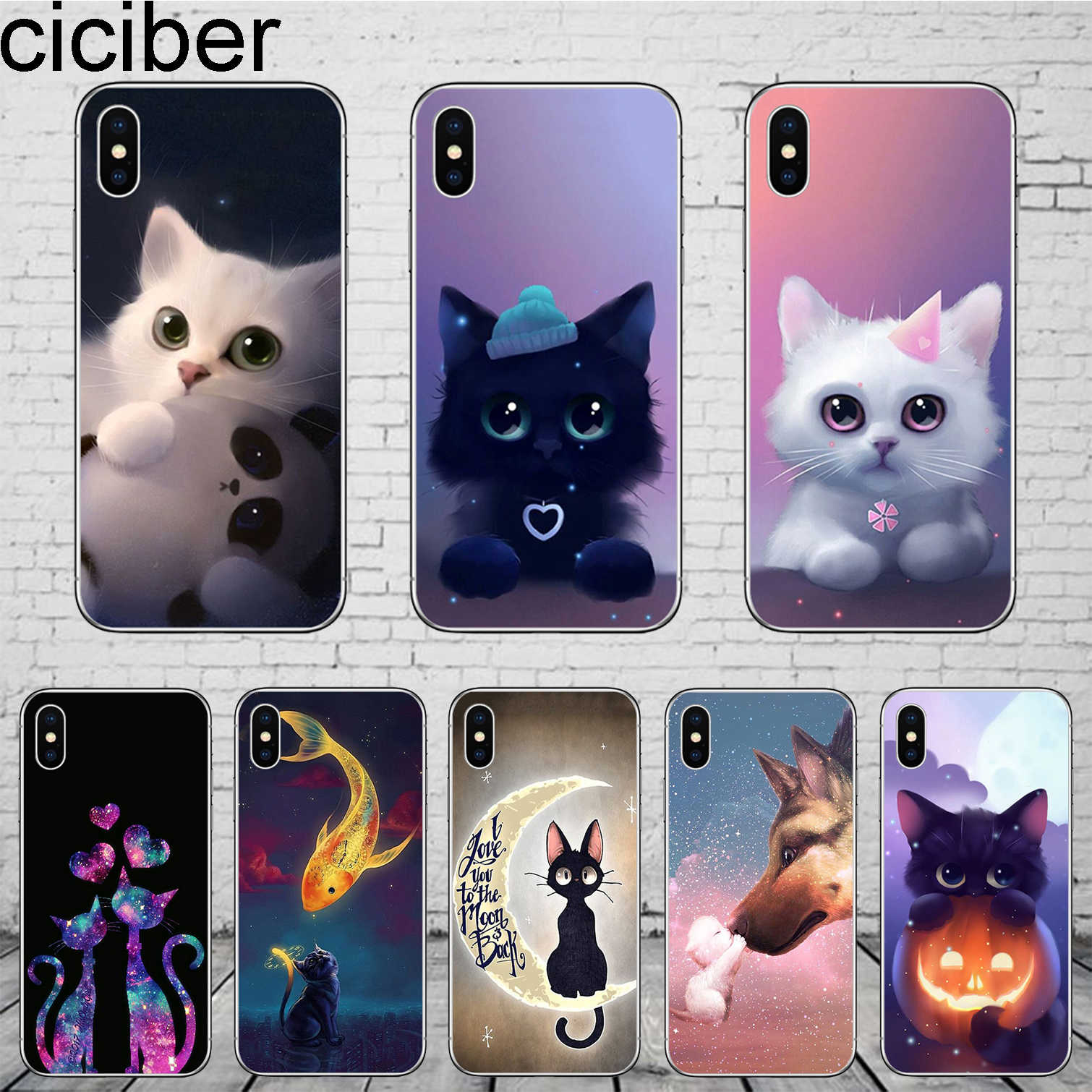 ciciber Animal Cat Cover for iPhone 11 Pro Max Case For iPhone XR X XS MAX 7 8 6 6S Plus 5 5S SE Phone Case Soft TPU Coque Funda