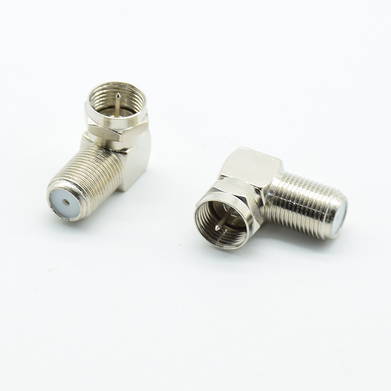 2PCS Copper F Male Plugs To F Female Right Angle 90 Elbow Satellite Antenna Adapter Coaxial TV Connector Curved Right Angle