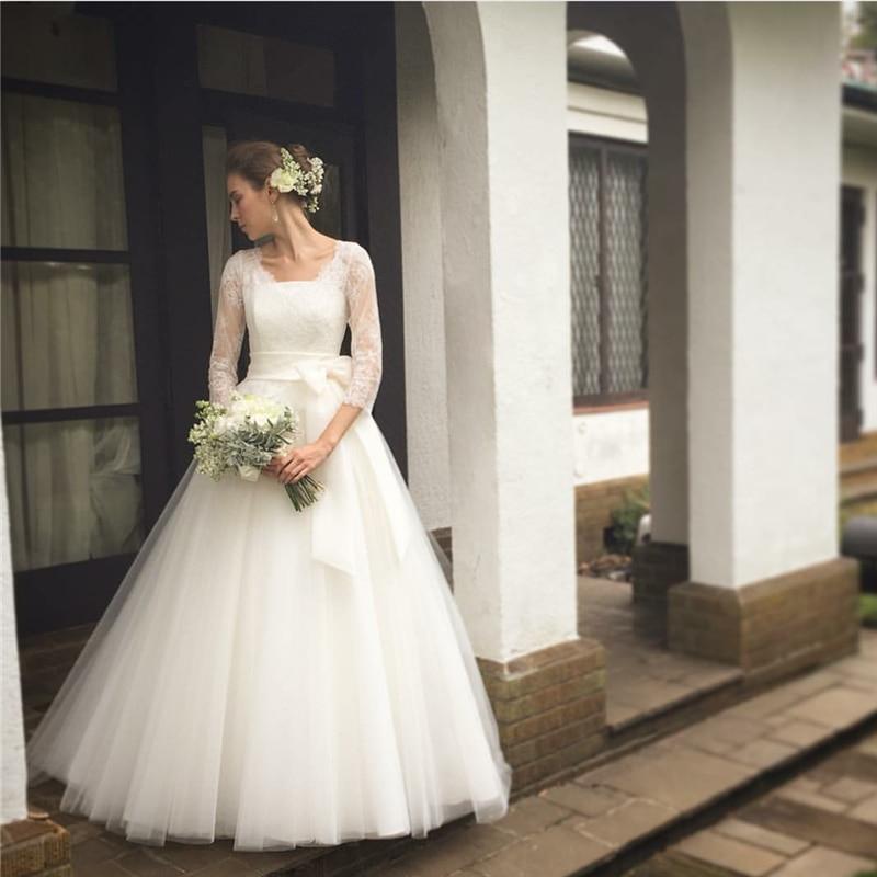 Vintage Three Quarter Length Wedding Dresses: Ivory New Elegant Three Quarter Wedding Dress Tulle Scoop