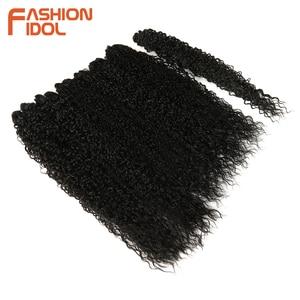 Image 4 - แฟชั่นIDOL Afro Kinky Curly Hair Bundles 7 ชิ้น/แพ็ค 22 26 นิ้วOmbreธรรมชาติสีดำสีสังเคราะห์ผมสานชุดผมหยิก