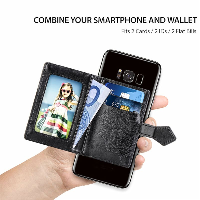 Fashion Embossed Phone Card Holder Adhesive Pouch Case Pocket Sticker Wallet