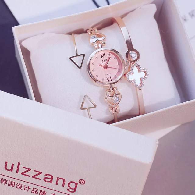 3PC Set Ulzzang Style Women Watches Fashion Party Ladies Watch Creative Design B