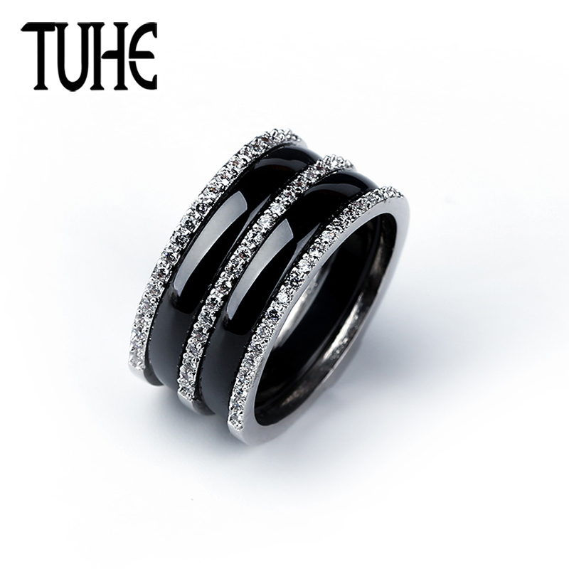 2018 Hot Wide Band Rings 3 Row Of Rhinestone Crystal With 2 Layer Ceramic Black White For Women Fashion Wedding Jewelry Gifts big crystal rings black white smooth ceramic rings with bling big transparent rhinestone women fashion jewelry rings for women