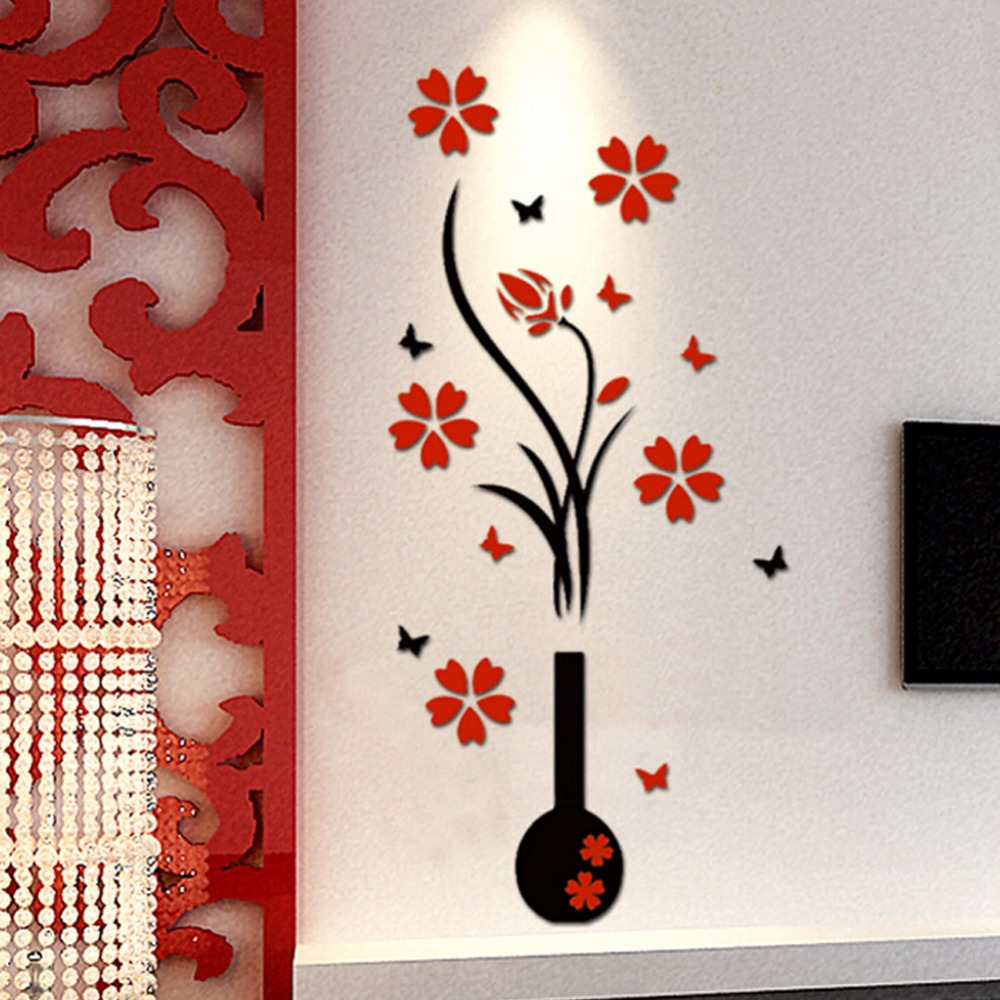 compare prices on creative wall decals online shopping buy low 3d diy plum vase wall stickers home decor creative wall decals living room entrance painting flowers