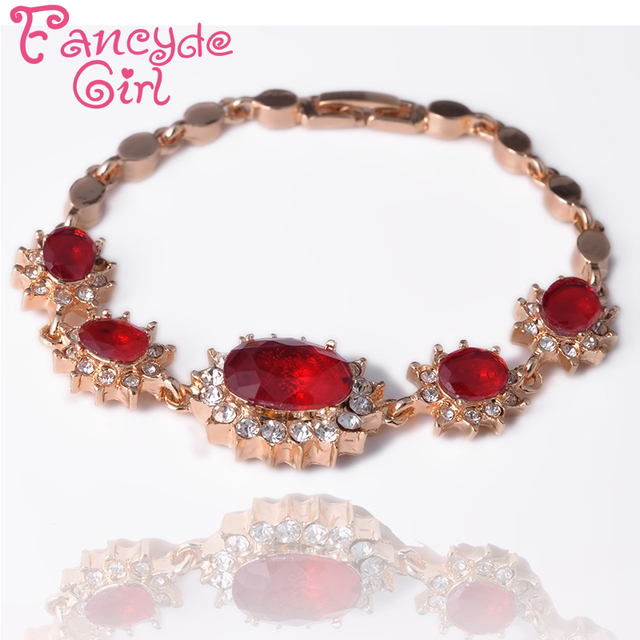 Fancyde Girl Gold Color Flower Oval Cut Red Crystal  Chain Bracelet Bangle Jewelry For Women Charm Bracelet Wedding Gifts