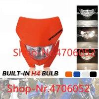 Motocross Halogen Headlight Mask 12v H4 Head Light Fairing Universal Headlamp for Yamaha WR YZ TTR WRF 85 125 250 250X 425 450