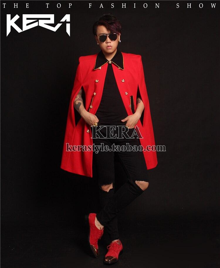 2018 Men's new DJ red cloak long Phnom Penh black collar