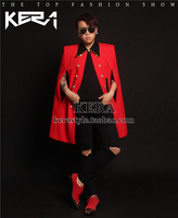 2018 Men's new DJ red cloak long Phnom Penh black collar suit jackets plus size singer costumes clothing Men Blazer